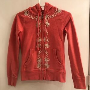 Lucky Brand Coral Zip Up Hoodie XS